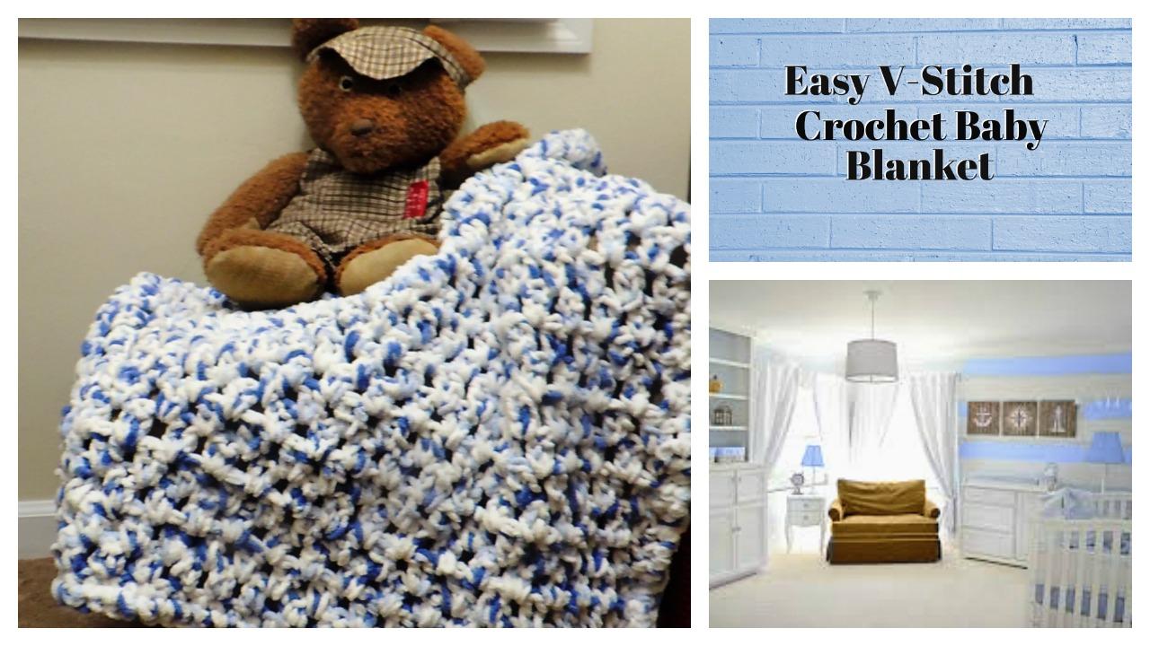 Easy V Stitch Crochet Baby Blanket Ahsel Anne