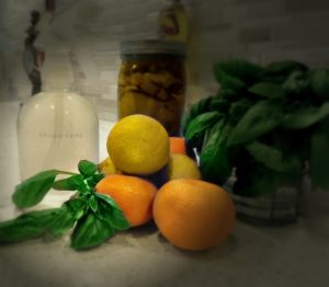 Citrus Peels, Vinegar and Essential Oil to create Vinegar Spray