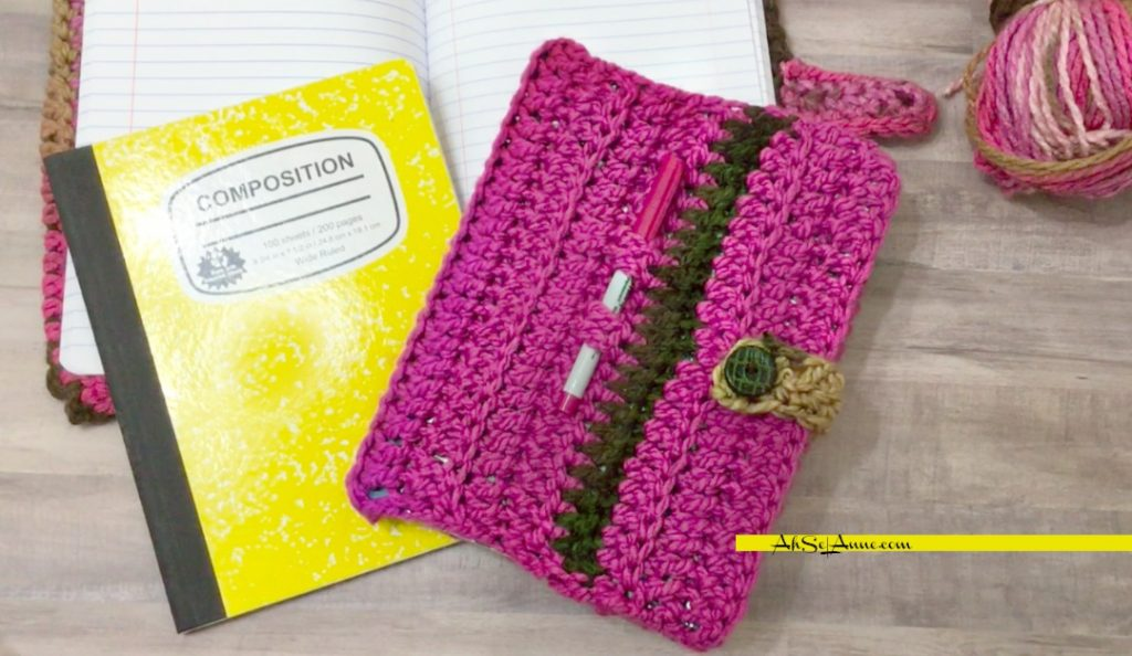 CROCHET BOOK COVER | COMPOSITION BOOK COVER | AhSel Anne