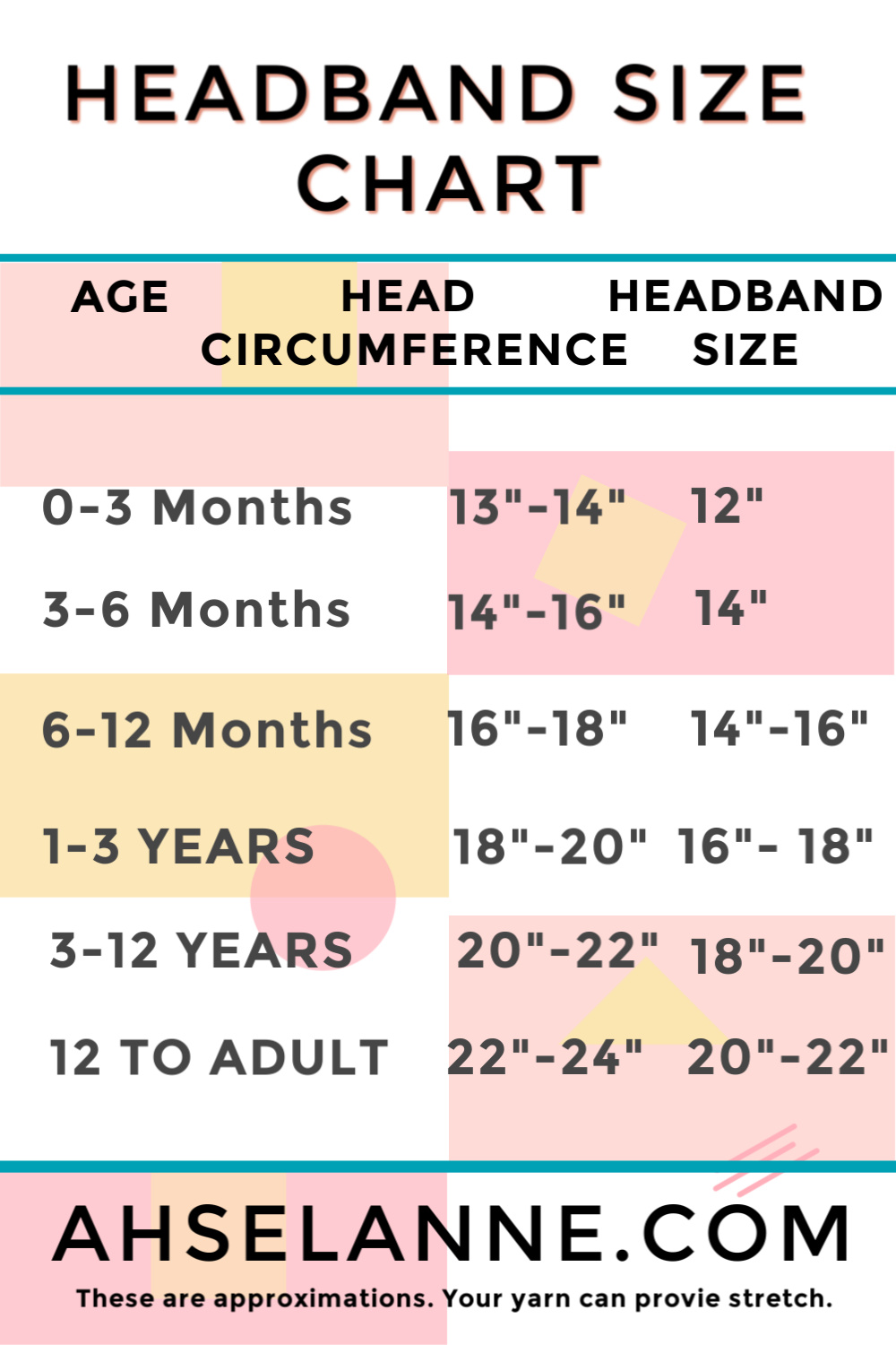 Head Band Measuring Chart