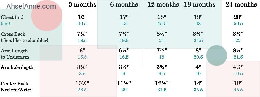 Cardigan Measurement Chart