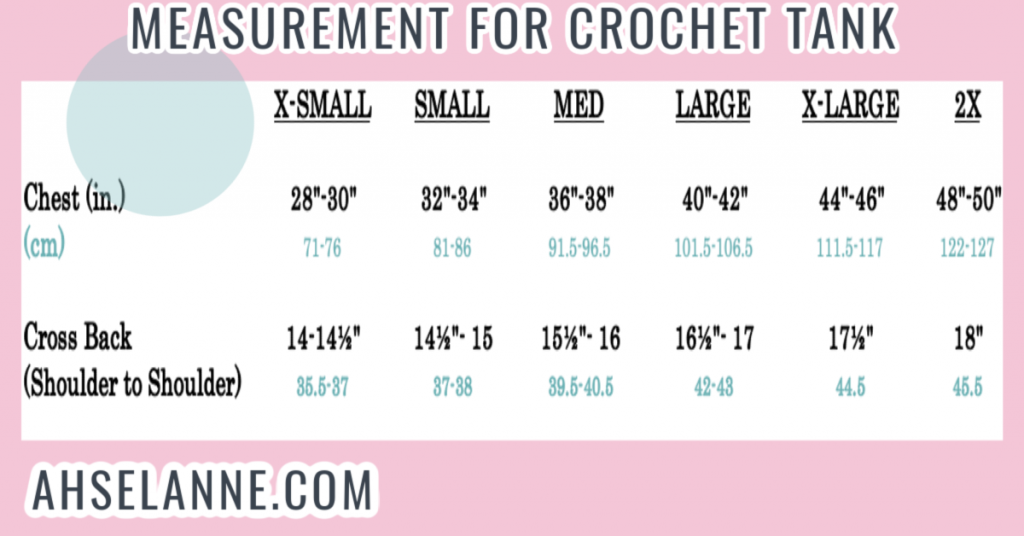 Crochet Tank Top Measure Chart